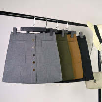 skirt Winter 2016 S,M,L Grey, black, army green, dark brown Short skirt Versatile High waist A-line skirt Solid color Type A 71% (inclusive) - 80% (inclusive) other wool