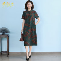 Dress Summer 2021 L XL 2XL 3XL 4XL longuette singleton  Short sleeve commute stand collar Loose waist Decor Socket other routine 40-49 years old Type A Xiang Weizi Retro Embroidered pocket button print More than 95% Silk and satin silk Mulberry silk 100%