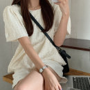 Lace / Chiffon Summer 2020 Picture color S M L Short sleeve commute Socket singleton  easy Regular Crew neck Solid color routine 18-24 years old Vee miny Lace Other 100%