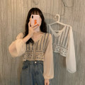 Lace / Chiffon Autumn 2020 Apricot white Average size Long sleeves commute Regular Solid color routine Button Other 100%