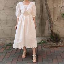Women's large Summer 2021 white Average size Dress singleton  commute easy thin elbow sleeve Solid color Korean version other Medium length cotton Three dimensional cutting puff sleeve ms096 96% and above Medium length Princess Dress Hollowing out