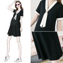 Dress YUNKEER black M,L,XL,XXL,XXXL Original design Short sleeve Medium length summer V-neck Solid color Pure cotton (95% and above) 9157-2
