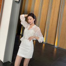 skirt Spring 2021 XS,S,M,L white Short skirt commute High waist Solid color Type A Q5056 31% (inclusive) - 50% (inclusive) Korean version