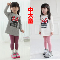 T-shirt White, seller match (3 pieces 1 color, 6 pieces 2 color...) Mengledou Starting with 3 pieces, 3 sizes, 7-12 years old female spring and autumn Long sleeves Crew neck Korean version There are models in the real shooting nothing Cartoon animation Cotton 85% others 15% DD803 other other