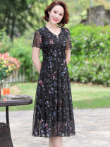 Dress Spring 2020 Black blue L XL XXL 3XL 4XL Mid length dress Fake two pieces Short sleeve commute Crew neck Elastic waist Broken flowers zipper A-line skirt routine 40-49 years old Type A Kanglibo ethnic style More than 95% Chiffon polyester fiber Polyester 100%