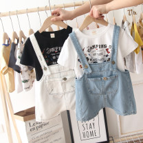 Jeans Youth fashion Others 80 yards, 90 yards, 100 yards, 110 yards, 120 yards, 130 yards Blue pants, white pants, blue pants + white T, white pants + white T Thin money Micro bomb Cotton elastic denim ND-9938J Shorts (up to knee) Other leisure summer teenagers middle-waisted tide 2019
