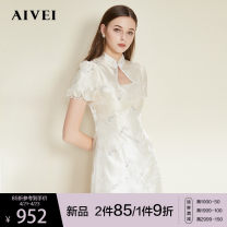 Dress Summer 2021 Apricot S M L Short skirt singleton  Short sleeve commute stand collar High waist Decor A button A-line skirt puff sleeve 25-29 years old Type X AIVEI Retro Embroidered stitched beaded lace N0160039 More than 95% polyester fiber Polyester 100%