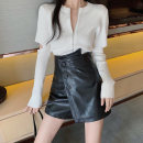 Fashion suit Autumn 2020 S. M, average size T-shirt white, T-shirt black, leather Shorts Black, leather shorts card color 18-25 years old 81% (inclusive) - 90% (inclusive)