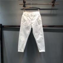 Jeans Summer of 2019 White, black 26,27,28,29,30,31 Ninth pants High waist Haren pants Thin money Wash, zipper, button, multi pocket Cotton elastic denim light colour