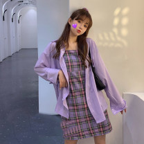 Women's large Spring 2021 Dress singleton  commute Self cultivation moderate Socket Long sleeves lattice Korean version One word collar polyester Three dimensional cutting routine 18-24 years old 81% (inclusive) - 90% (inclusive) Short skirt other