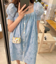 Dress Summer 2021 Blue jacquard S,M,L Middle-skirt singleton  Short sleeve commute Socket A-line skirt pagoda sleeve Type H Korean version