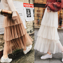 skirt Winter of 2019 S,M,L 3 layers - apricot, 3 layers - black, 3 layers - pink, 3 layers - khaki, 3 layers - gray, 3 layers - white, 3 layers - blue longuette commute High waist Cake skirt Solid color 18-24 years old 30% and below other Other / other other Pleats, mesh, solid