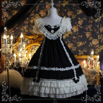 Dress Spring of 2019 Black [dress only], skirt + headband + waist bow, skirt + headband + waist bow + collar S,M,L singleton  commute Flying sleeve Others Other / other court