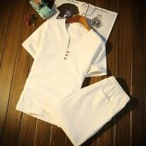 Leisure sports suit 4XL M L XL 2XL 3XL Grey Khaki Navy White Black summer Other / other Short sleeve shorts youth T-shirt Shentu (. S158) -- zvk (s158) cotton
