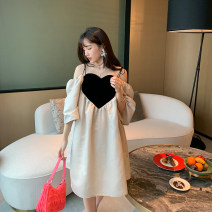 Dress Spring 2020 White - off the shelf XS,S,M,L Short skirt singleton  Short sleeve commute V-neck middle-waisted Solid color Big swing other 25-29 years old Type A Korean version
