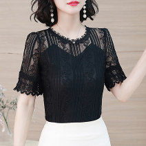 Lace / Chiffon Summer 2021 White, black M,L,XL,2XL,3XL,4XL,5XL Short sleeve commute Socket singleton  Straight cylinder Regular Crew neck other routine 25-29 years old P8S660 Cut out, embroidery, lace Korean version