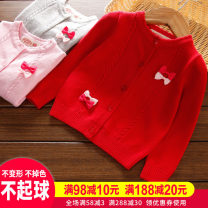 Sweater / sweater 80cm 90cm 100cm 110cm 120cm 130cm 140cm 150cm 160cm 170cm cotton female No model Single breasted routine Crew neck nothing Ordinary wool Solid color other Long sleeves Spring of 2019 spring and autumn Chinese Mainland