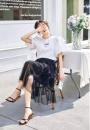 skirt Spring 2021 XL,2XL,3XL 4fxt5461 white + Black