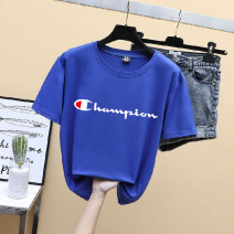T-shirt Summer 2020 Short sleeve Crew neck easy routine commute nylon 86% (inclusive) -95% (inclusive) Korean version letter Other / other printing
