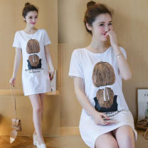 Dress Summer of 2019 M,L,XL,2XL,3XL Mid length dress singleton  Short sleeve commute 18-24 years old Korean version cotton