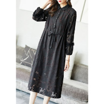 Dress Spring 2021 black S M L XL XXL XXXL Mid length dress singleton  Long sleeves commute Polo collar middle-waisted Big flower Three buttons A-line skirt routine Others 35-39 years old Type A Ajido Retro Pocket lace up button More than 95% polyester fiber Polyester 100%
