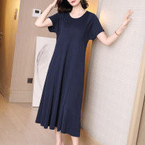 Dress Summer 2020 blue S M L XL XXL XXXL longuette singleton  Short sleeve commute Crew neck Loose waist Solid color Socket A-line skirt routine 35-39 years old Type A Ajido lady 30% and below polyester fiber Exclusive payment of tmall