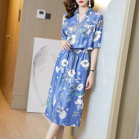 Dress Summer 2020 blue S M L XL XXL XXXL longuette singleton  Short sleeve commute Polo collar Elastic waist Decor Socket A-line skirt routine Others 35-39 years old Type A Ajido lady Pocket stitching zipper A91917 More than 95% other Other 100% Exclusive payment of tmall