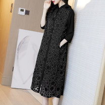 Dress Summer 2020 Black S M L XL XXL XXXL Mid length dress singleton  three quarter sleeve commute stand collar Loose waist Dot Single breasted A-line skirt routine Others 30-34 years old Type A Ajido lady Pocket button More than 95% other polyester fiber Polyester 100% Pure e-commerce (online only)