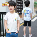 T-shirt White blue Bear after bear male summer Short sleeve Crew neck leisure time There are models in the real shooting nothing Cotton blended fabric Cartoon animation Cotton 95% polyurethane elastic fiber (spandex) 5% D18B993 Class B Sweat absorption Spring 2020