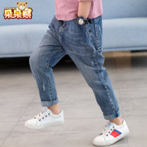 trousers Bear after bear male 110cm 120cm 130cm 140cm 150cm 160cm 170cm Denim blue spring and autumn trousers Korean version There are models in the real shooting Jeans Leather belt middle-waisted Cotton blended fabric Don't open the crotch Cotton 97% polyurethane elastic fiber (spandex) 3% D19A1527