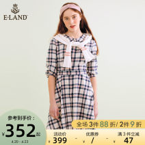 Dress Summer of 2019 Pink Pink / 25 155/XS 160/S 165/M 170/L Mid length dress singleton  Long sleeves commute other lattice Single breasted routine 25-29 years old E·LAND lady EEOW923C2C More than 95% cotton Cotton 96.8% polyurethane elastic fiber (spandex) 3.2%