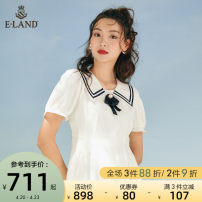 Dress Spring 2021 Ivory (39) Ivory Navy (59) Navy 155/XS 160/S 165/M 170/L Mid length dress singleton  Short sleeve Sweet Doll Collar middle-waisted Solid color zipper A-line skirt puff sleeve 25-29 years old Type A E·LAND zipper EEOWB24C2C More than 95% polyester fiber Polyester 100% Ruili
