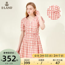 Dress Summer 2020 Pink (25) pink Navy (59) Navy 155/XS 160/S 165/M 170/L Short skirt singleton  Short sleeve Sweet V-neck lattice routine 25-29 years old E·LAND Frenulum EEOWA24H2C More than 95% cotton Cotton 100% Countryside Same model in shopping mall (sold online and offline)