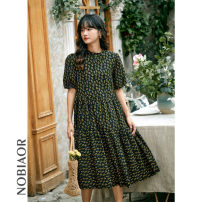 Dress Summer 2020 Yellow flowers on black background M L longuette singleton  Short sleeve commute Crew neck Loose waist Decor Socket A-line skirt puff sleeve 30-34 years old Nobiaor / nobion printing N-0A15Q More than 95% polyester fiber Polyester 100%