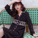 Dress Spring 2020 black S M L longuette singleton  Long sleeves commute V-neck High waist Dot Socket A-line skirt puff sleeve 25-29 years old Type A Nobiaor / nobion Button N-k85 Gaya More than 95% Chiffon polyester fiber Polyester 100% Pure e-commerce (online only)