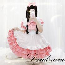 Dress Spring 2016 Dress + apron + hair accessories Average size Middle-skirt Two piece set Short sleeve Sweet Solid color Cake skirt Type A bow