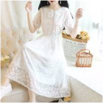 Dress Summer 2020 Apricot, white, black S,M,L,XL,2XL,3XL,4XL Mid length dress singleton  Short sleeve commute Doll Collar Elastic waist Solid color A-line skirt routine 18-24 years old Type A lady Bowknot, tuck, lace, three-dimensional decoration, mesh, lace 71% (inclusive) - 80% (inclusive) Lace