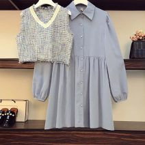 Women's large Spring 2021 suit Large XL, large 2XL, large 3XL, large 4XL, large 5XL Two piece set commute easy moderate Socket Long sleeves Solid color Korean version Polo collar have cash less than that is registered in the accounts polyester Medium length