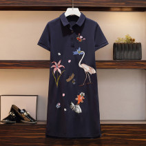 Women's large Spring 2021, summer 2021 Navy Blue Large XL, large XXL, large XXL, large XXXXL, large L Dress singleton  commute moderate Socket Short sleeve Korean version Polo collar polyester Embroidery Medium length
