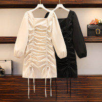 Women's large Winter 2020, autumn 2020 Apricot, black Large XL, large XXL, large XXL, large XXXXL, large L Dress singleton  commute Self cultivation moderate Socket Long sleeves Solid color Korean version square neck polyester fold other Bandage Short skirt