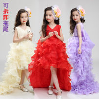 Dress 7600 champagne detachable tail + crown hair band, 7600 red detachable tail + crown hair band, 7600 purple detachable tail + crown hair band, 7600 white detachable tail + crown hair band female Other / other 110cm,120cm,130cm,140cm,150cm,160cm,170cm Polyester 100% spring and autumn princess