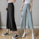 Casual pants Black white purple grayish blue S M L XL Summer 2021 Ninth pants Straight pants High waist commute Thin money 25-29 years old 137-276 Sand of the wind Korean version fungus polyester fiber Polyester 100% Pure e-commerce (online only)
