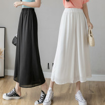 skirt Summer 2021 S M L XL Black white light green purple Mid length dress commute High waist A-line skirt Solid color Type A 25-29 years old GT137-275 More than 95% Chiffon Sand of the wind polyester fiber Korean version Polyester 100% Pure e-commerce (online only)