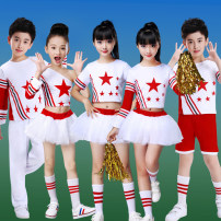 Children's performance clothes White slant shoulder + skirt, men's top + white shorts, men's top + red shorts, double short sleeves + skirt, girl long, boy long female 100cm,110cm,120cm,130cm,140cm,150cm,160cm,170cm Dream show other other