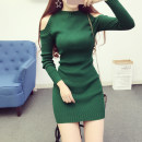 Dress Spring of 2018 Average size Mid length dress singleton  Long sleeves commute Half high collar High waist Solid color Socket other routine Others Other / other Korean version Hollowing out 30% and below knitting polyester fiber