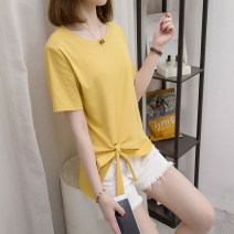 Women's large Summer 2021 Yellow, black M [80 ~ 100 kg], l [100 ~ 120 kg], XL [120 ~ 140 kg], 2XL [140 ~ 160 kg], 3XL [160 ~ 180 kg], 4XL [180 ~ 200 kg] T-shirt singleton  commute easy thin Socket Short sleeve Korean version Crew neck routine Polyester, cotton Three dimensional cutting