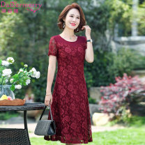 Dress Summer 2020 Red blue L XL 2XL 3XL 4XL Mid length dress singleton  Long sleeves commute Polo collar middle-waisted Solid color Single breasted A-line skirt routine Others 40-49 years old Type A Daizermery / Dai Zimei lady Cut out button with lace hook DZM1905 More than 95% Lace polyester fiber