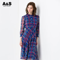 Dress Spring 2020 281 blue grid 2/S 3/M 4/L 5/XL 6/2XL Mid length dress singleton  Nine point sleeve commute Polo collar middle-waisted lattice Socket Irregular skirt other Others 30-34 years old A & S / an Xiu Korean version E910795 More than 95% polyester fiber Polyester 100%