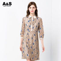 Dress Spring 2020 275 wheat 2/S 3/M 4/L 5/XL 6/2XL Mid length dress singleton  three quarter sleeve commute Polo collar middle-waisted Decor Socket One pace skirt other Others 30-34 years old A & S / an Xiu lady Ruffle button lace E910916 More than 95% polyester fiber Polyester 100%