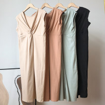Dress Summer 2021 Khaki dress, apricot dress, black dress, green dress Average size Middle-skirt singleton  Sleeveless commute V-neck High waist Solid color routine 18-24 years old Type H Korean version FG214309 30% and below other cotton